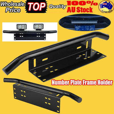 AU License Number Plate Frame Holder Bumper Mount Working Light Lamp LED Bracket
