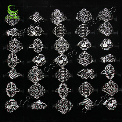 50pcs Wholesale Jewelry Lots Mixed Style Tibet Silver Vintage Rings Free Ship