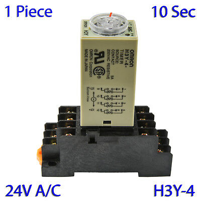 (1 PC) H3Y-4 Omron 24VAC Timer Relay 4P4T 14-Pin 5A (10 Sec) with Socket Base