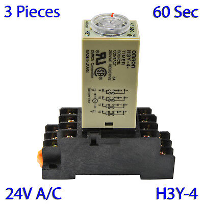(3 PCs) H3Y-4 Omron 24VAC Timer Relay 4P4T 14-Pin 5A (60 Sec) with Socket Base