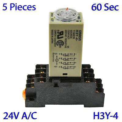 (5 PCs) H3Y-4 Omron 24VAC Timer Relay 4P4T 14-Pin 5A (60 Sec) with Socket Base