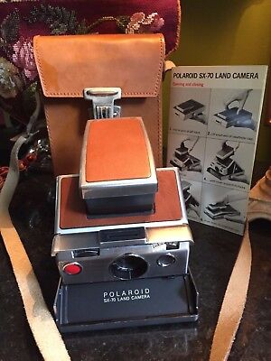Vintage Polaroid SX 70 Land Camera With Original Leather Case and Booklet EUC!