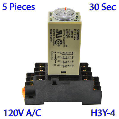(5 PCs) H3Y-4 Omron 120VAC Timer Relay 4P4T 14-Pin 5A (30 Sec) with Socket Base