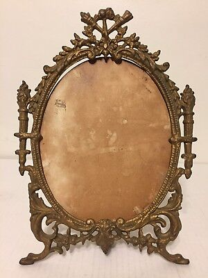 "Vintage Gold Cast Iron Art Picture Frame Oval Easel Ornate Victorian 14"" Tall"