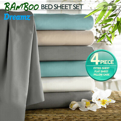 Deep Wall Luxury 400TC Bamboo Cotton Sheet Set Double Queen King Bed Four Size