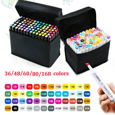 36 48 60 80 168  Colors Touch Marker Pen Graphic Art Sketch Twin Tip Fine Point