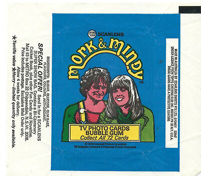 Scanlens - Mork and Mindy - Card Wrapper - 1978 - NO TEARS / RIPS