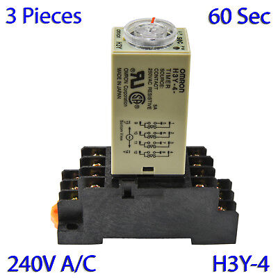 (3 PCs) H3Y-4 Omron 240VAC Timer Relay 4P4T 14-Pin 5A (60 Sec) with Socket Base