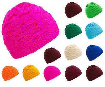Girl Kids Children Knitted Beanie Hat Hats Cap Winter Worm Girls Cosy Fleece