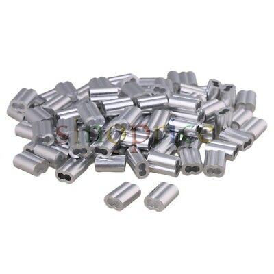 100pcs Silver M4 Aluminum Wire Rope Cable End Double Barrel Ferrule For 4mm Rope