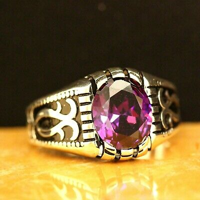 925 Sterling Silver Handmade Authentic Turkish Amethyst Men's Ring Size 7-12