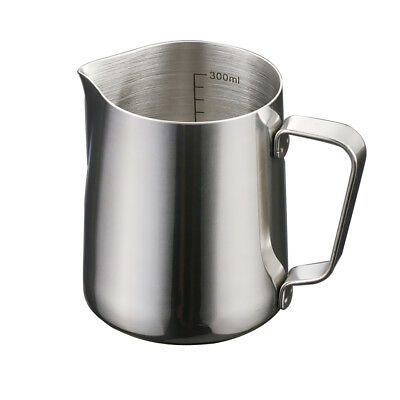 Milk Frothing Jug Pitcher Stainless Steel Latte Cappuccino with Scale 350ml