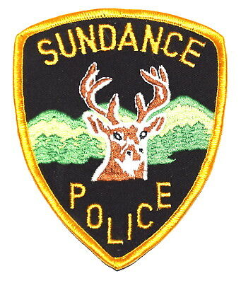 SUNDANCE WYOMING WY Police Sheriff Patch DEER STAG ANTLERS MOUNTAINS ~