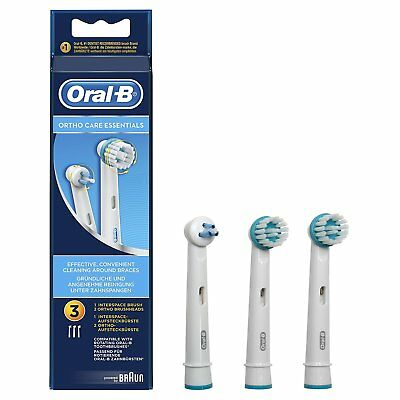 Genuine Braun Oral-B Ortho Care Essentials Brush Heads & Brace Care Pack Qty 3