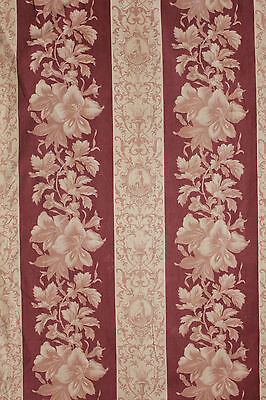 Antique French 19th Greyhound fabric madder brown material floralc 1870 lovely