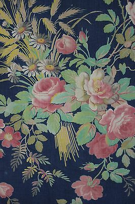 French Antique fabric Prussian blue floral design c 1890 material