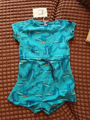 Polarn y pyret all in one jumpsuit summer 12-18mths blue unisex