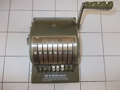 Vintage PAYMASTER SERIES 8000 Ribbon Check Writer GREEN with Key Works Well
