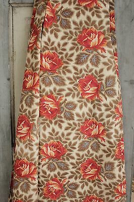 Antique French rose pattern fabric orange blue simulated warp  printed cotton