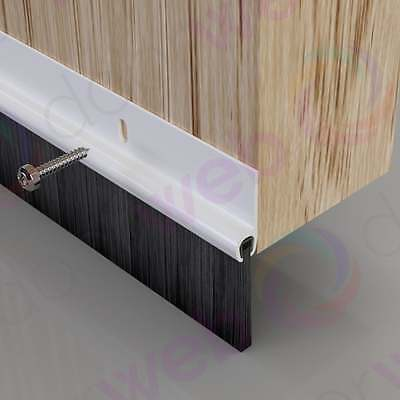 DRAUGHT EXCLUDER BRUSH SEAL Strip Stormguard PVC Plastic Bottom Door Garage
