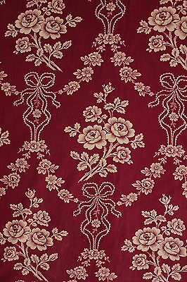c 1890 burgundy printed cotton fabric material ribbon floral old 32X63