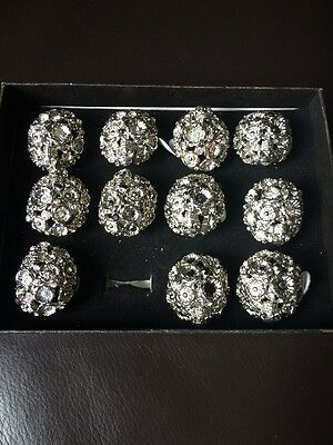 Job Lot Of 11 Silver Diamante Large Rings Sizes 17/18