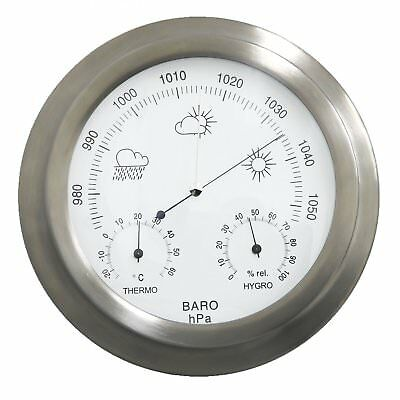 NEW! Indoor Outdoor Barometer Weather Station Stainless Steel