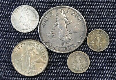 Five Nice Old Silver Coins From The Philippines