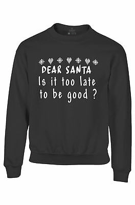 Dear Santa Is It Too Late to be Good?  Youth Crewneck Christmas Sweatshirts