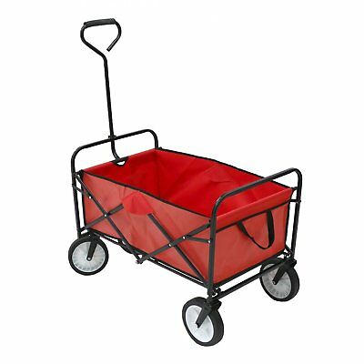 NEW! Red Heavy Duty Foldable Garden Trolley Folding Cart Wagon Truck Wheelbarrow