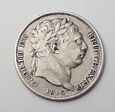 Dated : 1816 - Silver Coin - Sixpence / 6d - King George III - Great Britain