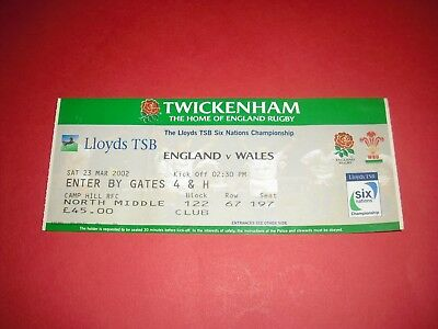 2001/02 England V Wales Rugby Ticket (2002)