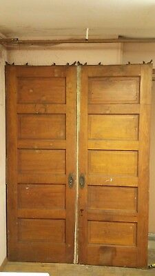 "Antique Wood Pocket Sliding Doors Pair 29"" 3/4 x 83"" 3/4"