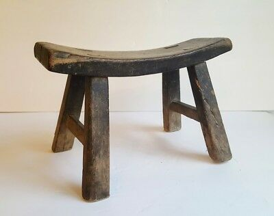 """Chinese Antique Wood Stool / Bench / Stand 7"""" Tall Primitive Country, Hand Made"""