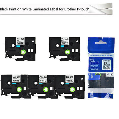 5 PK 1/2'' Label Tape 12mm Compatible for Brother TZ-231 TZe-231 P-touch Printer
