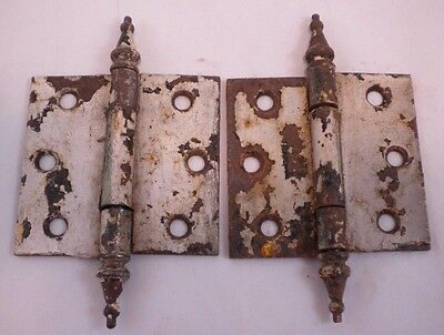 2 Antique Cast Iron Victorian Hinges Spire Steeple 3 x 5 Rustic Distressed