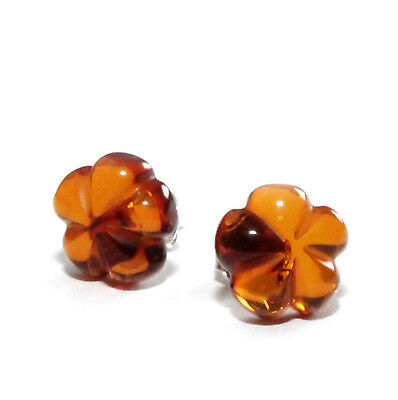 Genuine Baltic Amber Earrings 925 Sterling Silver Cognac Color 1.3 g Clover