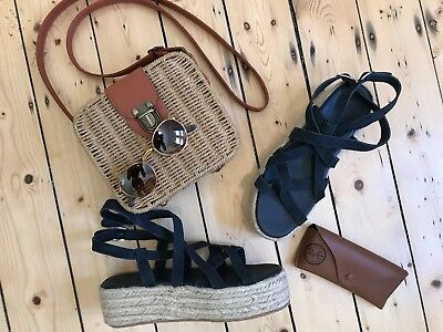 NEW SEED HERITAGE Navy Strappy Leather Wedge Espadrilles SIZE 38