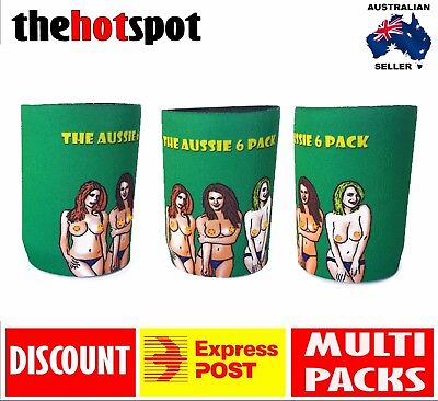 Aussie 6 Pack STUBBY STUBBIE HOLDER Beer Cooler Dad* AUSTRALIA DAY Gift* Topless