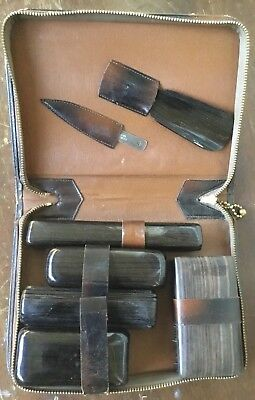 Vintage Men's Grooming Travel Luggage Kit With Leather Case