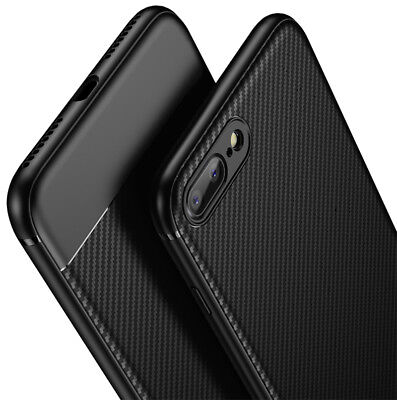 For iPhone X 8 7 6 6s Plus Shockproof Carbon fiber Thin Hybrid Bumper Case Cover