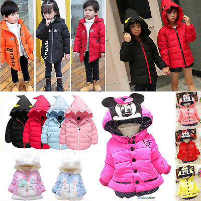 Baby Kids Girl Cartoon Coat Winter Hooded Fleece Jacket Snowsuit Toddler Outwear