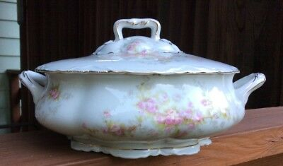 "Antique O&EG Royal Austria Hand Painted Porcelain Vegetable Tureen ""Red Roses"""