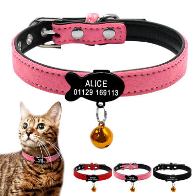 Soft Suede Leather Personalized Cat Kitten Collars with Bell Free Engraved Name