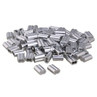 100pcs M4 Silver Double Hole Wire Rope Aluminum Sleeves Clamps For 4mm Dia Rope