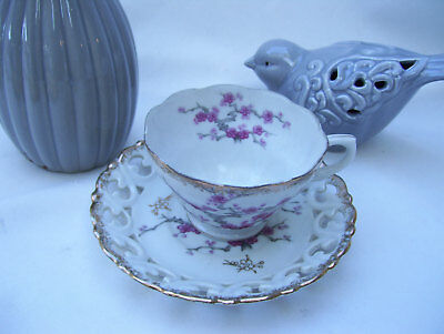 Asian Pink Cherry Blossom Japanese Teacup Tea Cup and Saucer Set Oriental Decor