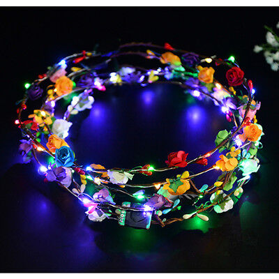 Wedding Xmas Party Women Lady LED Light Up Flower Headband Hair Wreath Garland