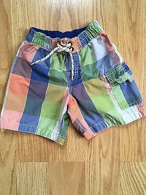 BABY GAP Toddler Boy's Lined Patchwork Plaid Swimming Trunks Shorts Size 2T