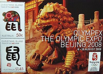 2008 Year Of The Rat Beijing 2008 Olympex Miniature Sheet Christmas Island