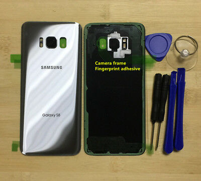 OEM Glass Back Cover Panel Camera Frame For Samsung Galaxy S8 G950 Artic Silver
